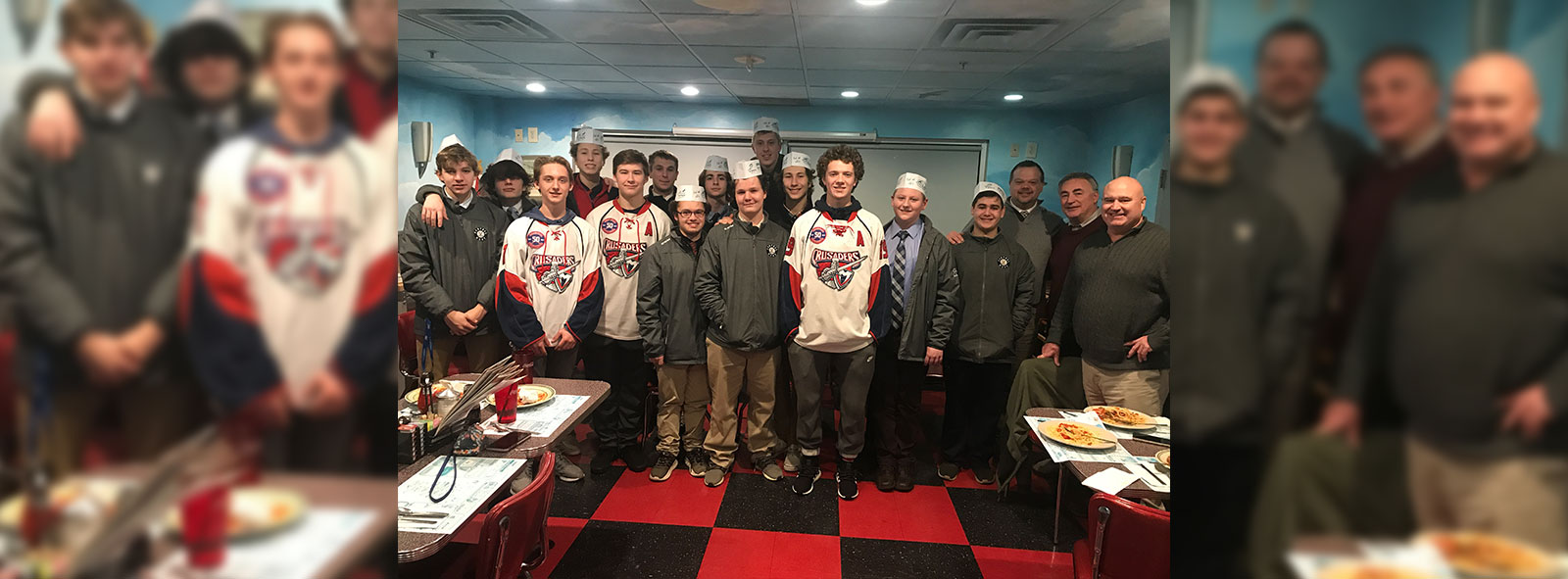 hockey team group photo for spaghetti dinner benefit