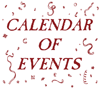 calendar of events text graphic with confetti