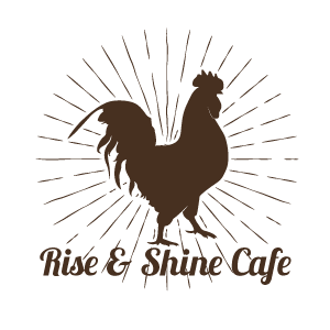 rise and shine cafe logo with rooster silhouette all in brown