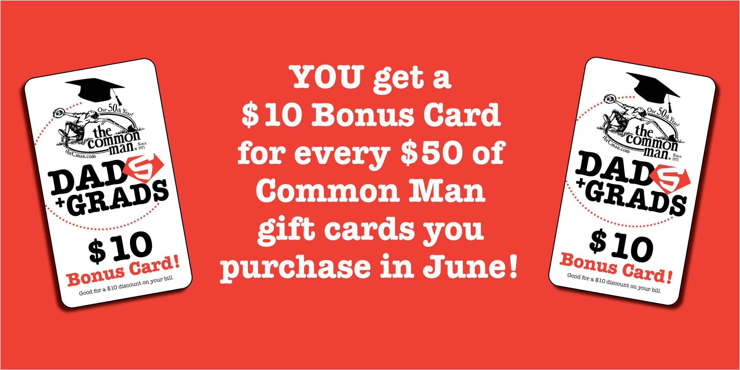 Dads and Grads bonus card offer