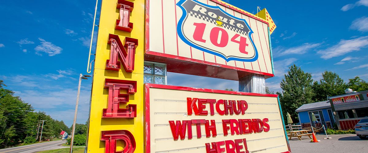light up neon route 104 diner sign