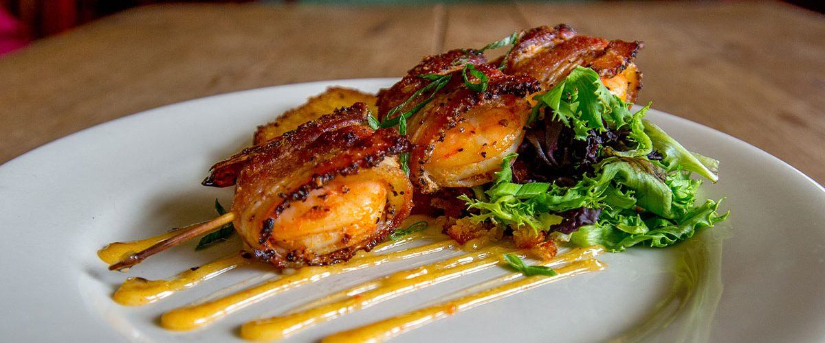 starters of bacon wrapped shrimp