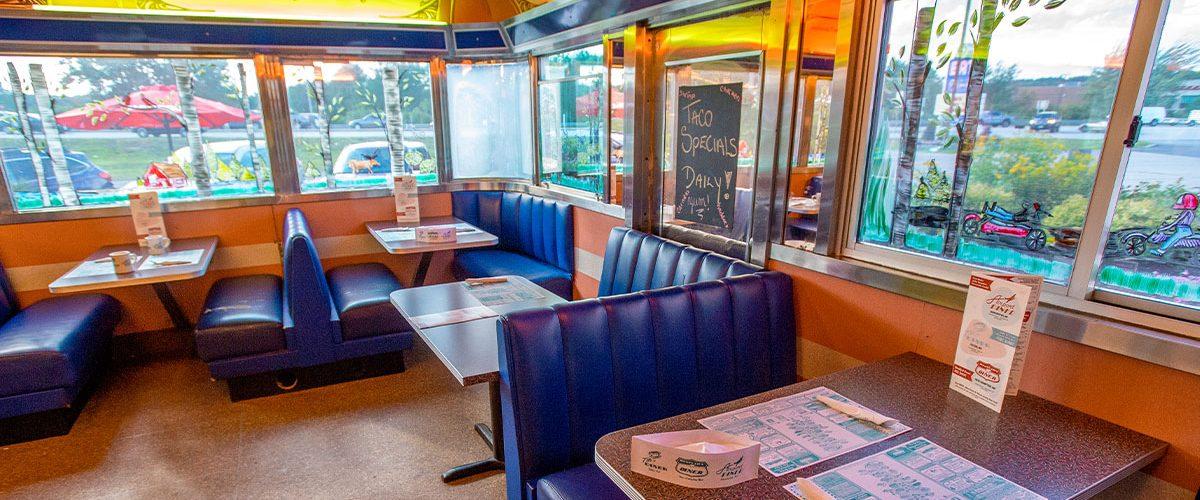 blue diner booths inside diner
