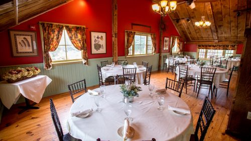 windham hayloft room tables set up for event