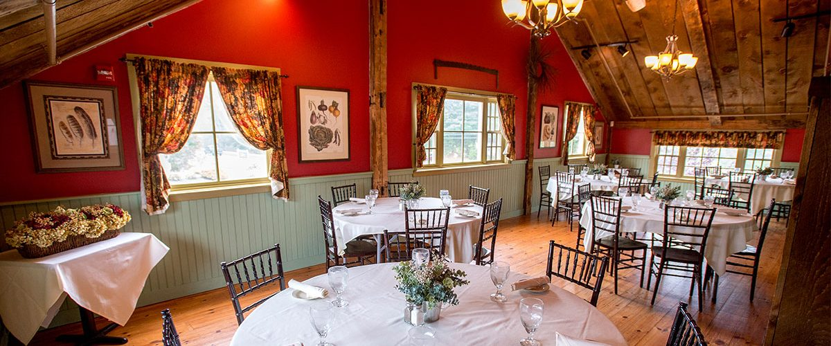 windham event space of white covered decorated tables